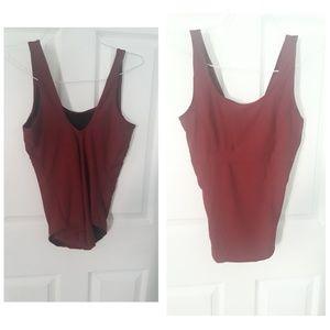 A burgundy swimsuit